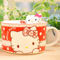 Bowl Doraemon 2430 BX00007HelloKitty KT Japanese ceramic bowl of instant noodles cup fresh bowl of soup bowl with spoon sealed lid