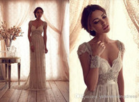 Anna Campbell beach wedding dresses 2014 Vintage cap sleeves...
