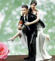 Wholesale New quot Playful Football Couple quot Bride amp Groom Wedding Cake Topper
