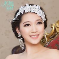 Wholesale BX00008 Water Dance Korean Lace diamond bride wedding ornaments amount of fresh flower fairies head tassel earrings bridal hair accessories