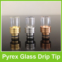 Wholesale Pyrex Glass Drip Tips Muffler Flat Ring Mouthpieces Red Brass Stainless Steel for Protank Atomizer Clearomizer E Cig Free DHL