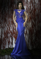 Reference Images Jewel/Bateau Satin Sexy 2014 Bien Savvy Mermaid Sweep Train Blue Lace Appliques Backless Evening Dresses With Bateau Neckline Short Sleeve Peplum Prom Gowns