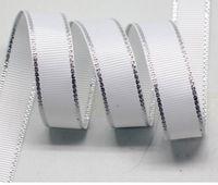Wholesale Wedding supplies ribbon ribbon ribbon silver edge rib belt ribbon white ribbon gift with mm