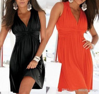 2014 summer beach Casual Dresses sexy V neck A line knee len...