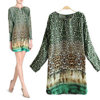 Casual Dresses V_Neck A Line summer dress 2014 leopard print chiffon women dresses casual full sleeve European clothing QD023