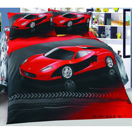 Red Car Cool Cotton children 3pcs Bedding Set Kid Nursery Bedding Flat sheet Pillow case set Free Shipping
