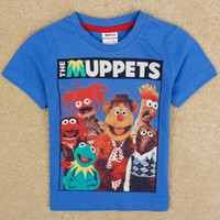 Wholesale 2014 new baby boys clothes cartoon the Muppets print boys t shirts nova kids summer clothing cotton fabric short sleeve tshirts C5056