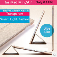 Wholesale ultra slim High quality folds thin magnetic sleep wake pu leather smart cover for ipad mini retina case quot inch clear transparent