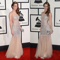 Wholesale LM The th Grammy Awards Celebrity Dresses Of Brooklyn_Haley With Beads Crystals Backless Mermaid Sexy Evening Dresses Red Carpet Gown