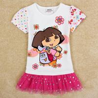 tutu dress - nova new girl dress design kids cartoon cute baby clothes summer casual dresses t shirt pink tulle white tutu dresses H5099D