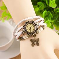 Couro genuíno Retro Vestido relógio, pulseira mulheres Relógios de pulso pingente de borboleta, china relógios, relógios de pulso mulheres
