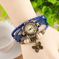 Reloj de la vendimia envío de las mujeres de cuero de alta calidad, pulsera pulsera de la mariposa colgante para la joyería del regalo de Navidad