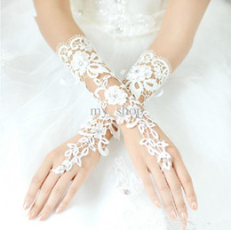 Wholesale 2014 New Arrival Bridal Gloves About Luxury Lace Flower Glove Hollow Wedding Dress Accessories White Bridal Gloves
