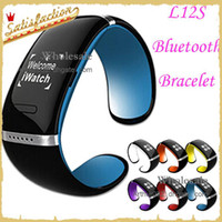 Wholesale L12S Bluetooth Smart Bracelet Bangle Wrist Watch OLED Touch Screen for IOS iPhone Samsung Android Mobile Phone Call Answer SMS Reminding