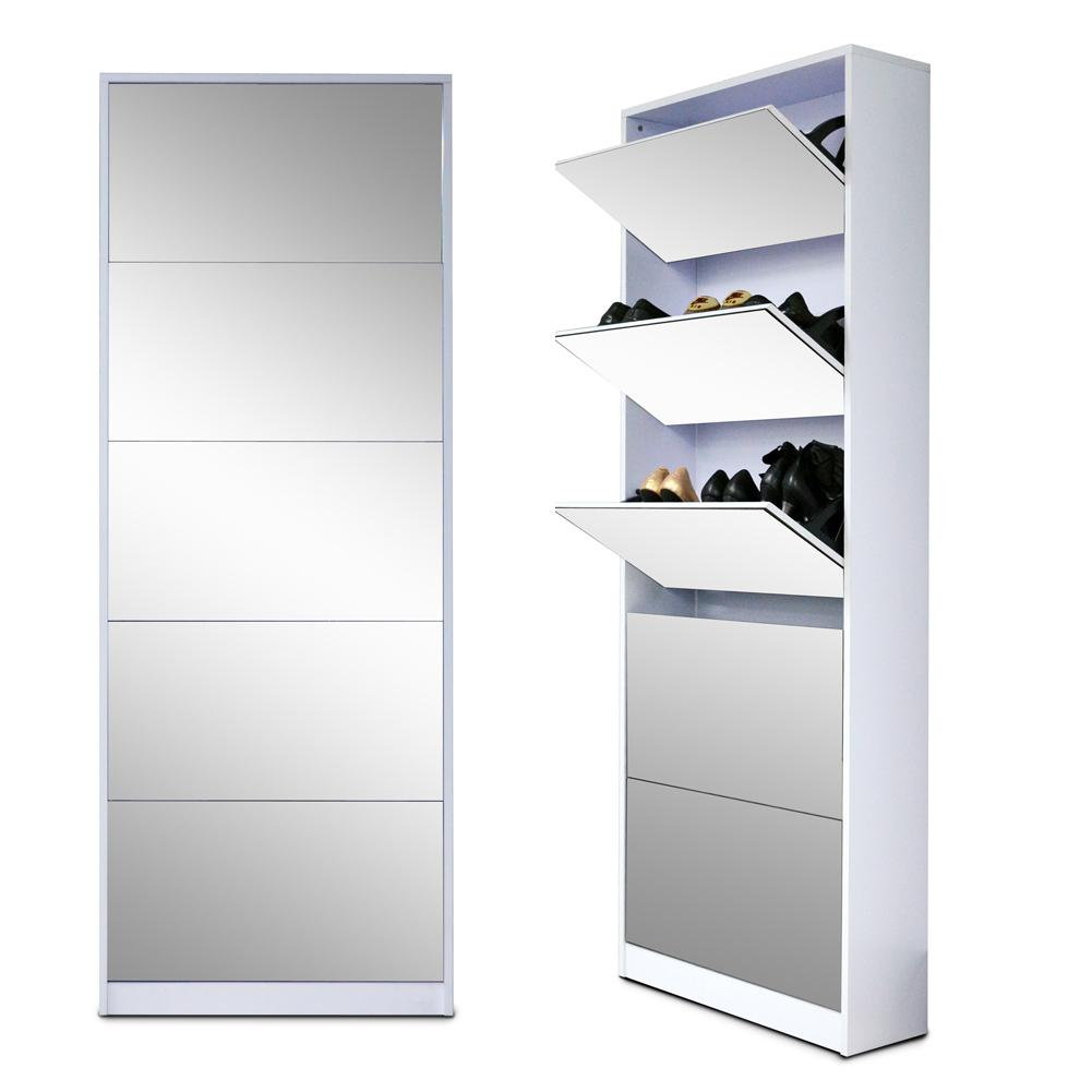 Full Length Wood Shoe Storage Cabinet With 5 Drawers Full Mirror