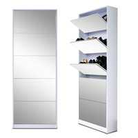 Wholesale Full Length Wood Shoe Storage Cabinet With Drawers Full Mirror Living Room Furniture Made In China US Stock