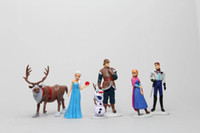 Wholesale Frozen Anna Elsa Hans Kristoff Sven Olaf PVC Action Figures Toys set Animal Princess Figurine Kids Gift
