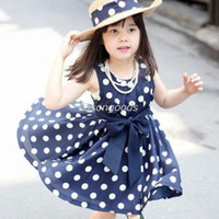 Wholesale 2014 New Summer Children Clothing Kids big girl clothing pre teen princess dress polka dot Korean style set height cm