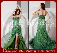 Reference Images Sweetheart Chiffon Free Shipping Peacock Printed Fabric Prom Dresses with Sexy Beaded Sweetheart Neck and Glamorous Front Slit A-line Formal Evening Dresses