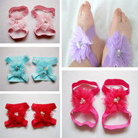 Wholesale baby girls barefoot sandals children gauze Wrist flowers or foot flowers with pearl infant toddler first walk shoes Christmas gift for kids