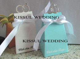 With this Ring Blue Wedding favor box For Unique Wedding reception favors and candy boxes 200pcs lot Free shipping by EXPRESS