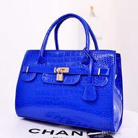 Wholesale New Arrival Hot Women s Handbag bag Purses PU Leather fashion Shoulder Bags lock Crocodile lady Handbag bag Messenger Bag blue