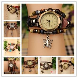 Hot Sale Genuine Leather Bracelets Watches Women Quartz Wrist Watches Pendants Leaf Butterfly Heart Dragonfly Mix Designs 100pcs