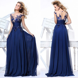 Wholesale 100 Real Image Cheap In Stock A Line Evening Dresses Sheer Scoop Neck Backless Short Sleeve Crystal Chiffon Bridal Gowns Royalblue