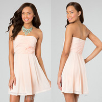 Reference Images Chiffon Strapless Blush A Line Pleated Bodice Short Chiffon Strapless Semi Formal Dress Teen Cocktail Dress