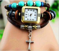 batteries trojan - Weave Bracelets Watches Women Quartz Wrist Watches Pendants Cross Flower Owl Trojan Mix Designs DHL Free Drop Shipping