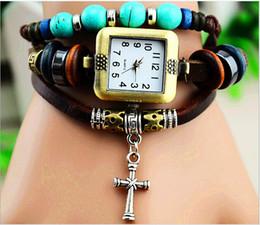 Weave Bracelets Watches Women Quartz Wrist Watches Pendants Cross Flower Owl Trojan Mix Designs 100pcs DHL Free Drop Shipping