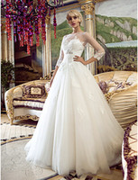 Wholesale 2014 Fashion New White Ivory A Line Crew Corset Tulle Applique Beads Crystal Sleeves Chapel Train Wedding Dresses Gorgeous Bridal Gowns