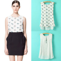 Wholesale Details about Lady Summer Casual Tops Flamingo Print Shirts Sleeveless Chiffon Blouse TOP
