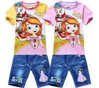 Girl Summer Short wholesale Fashion 2014 Cartoon Girls Sofia Sophia Summer Clothes Baby Suits Kids T Shirt + Jeans Pants Children Clothing Set