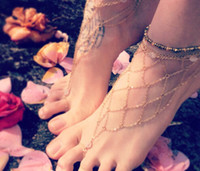 Casual/Sport Alloy beach wedding New In 2014 Barefoot Sandals Women Beach Foot Jewelry Fishnet Netted Ankle Jewellery Bracelet With Toe Ring Foot Ankle Bracelets For Women