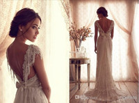 Wholesale Sexy Anna Campbell Summer Beach Backless Wedding Gowns Plus Garden Wedding Dresses Beads Capped Sleeves Vintage Wedding Dresses Lace