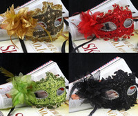 Wholesale Exquisite Lace Rhinestone Leather Mask Masquerade Lily Flower Princess Mask Lace diamond Party mask Venetian mask Sexy Women Lady masks