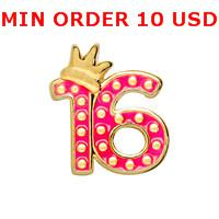 Charms for locket mixed SWEET 16 Glass Floating charms for memory living locket wholesale
