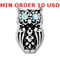 Charms for locket mixed SILVER BRIGHT EYED OWL Glass Floating charms for memory living locket wholesale