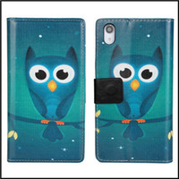 Wholesale Good quality night owl prints wallet stand leather case cover for sony xperia z2 d6503 phone with kinds free shipment