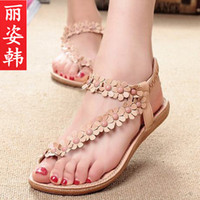 Wholesale 2014 Bohemian Thong sandals shoes pinches summer women shoes new beads flowers girl flat shoes