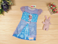 Hot Sale!! Anna Elsa Princess Short Sleeve Dress Sumer Dress...