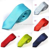 Wholesale 2 Inch Mens Skinny Necktie Neck Ties Solid Turquoise Plaid Jacquard Fabric Slim Narrow Ties Men s Fashion Accessories