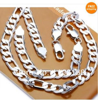 Wholesale Hot Sale Men s fashion Jewelry Sterling Silver Jewelry Set Necklace and Bracelet mm