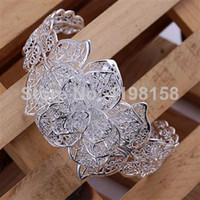 Wholesale Graceful Jewelry Hollow Bracelet Multi Leaves and Flower Sterling Silver Bracelet Cuff Bangle Excellent Workmanship