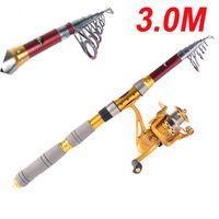 Wholesale 3M FT Portable Telescope Fishing Rod Travel Spinning Fishing Pole H10186