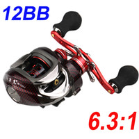 Fishing Reel carp fishing reels - 12BB Left Hand Red Bait Casting Carp Fishing Reel Ball Bearings High Speed One way Clutch DM120LA H10235