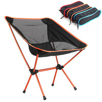 beach chairs - 3 Colors Portable Aluminium Folding Camping Stool Chair Seat for Fishing Festival Picnic BBQ Beach with Bag Red Orange Blue H10370