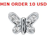 Charms for locket mixed CRYSTAL SILVER BUTTERFLY Glass Floating charms for memory living locket wholesale