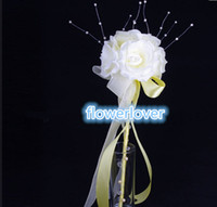 Satin   2014 Hot New Fashion Wedding Bridesmaid Flower Boys Girls Rose Pearl Magic Stick Wand Handmade DIY Wedding Photography Prop